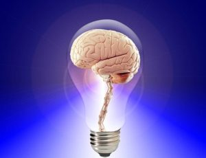 Picture of a brain encased in a lightbulb