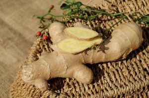 Picture of some root ginger on a wicker tray
