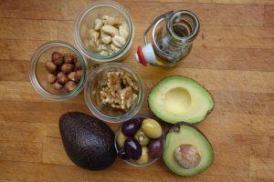 Picture of avocado, nuts, oils and olives