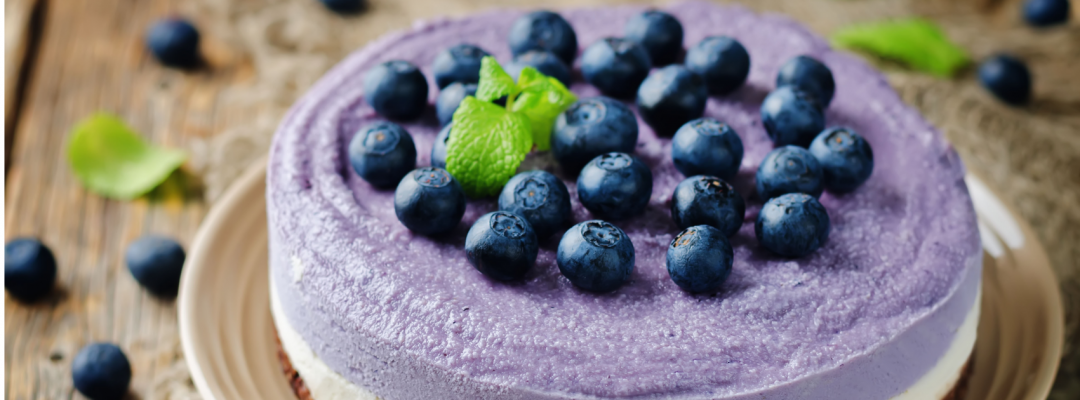 picture of a raw vegan blueberry cheesecake